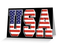 American Flag, USA, Stars & Stripes, America, Americana, Pure & Simple, on BLACK Greeting Card