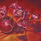 Orchids In Red Vase by Martha Mitchell