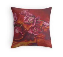 Orchids In Red Vase Throw Pillow