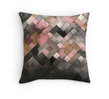 Grey watercolor patchwork  Throw Pillow