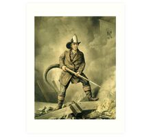 Old Fireman Illustration Art Print