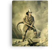 Old Fireman Illustration Metal Print