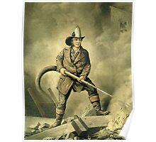 Old Fireman Illustration Poster