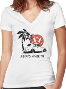 Legends Never Die - Retro BUG T-Shirt Women's Fitted V-Neck T-Shirt