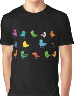 Swarm of birds on a line Graphic T-Shirt