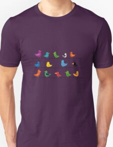 Swarm of birds on a line Unisex T-Shirt