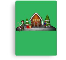 Girl Elf Gingerbread House Holiday  Canvas Print