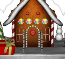 Girl Elf Gingerbread House Holiday  Sticker