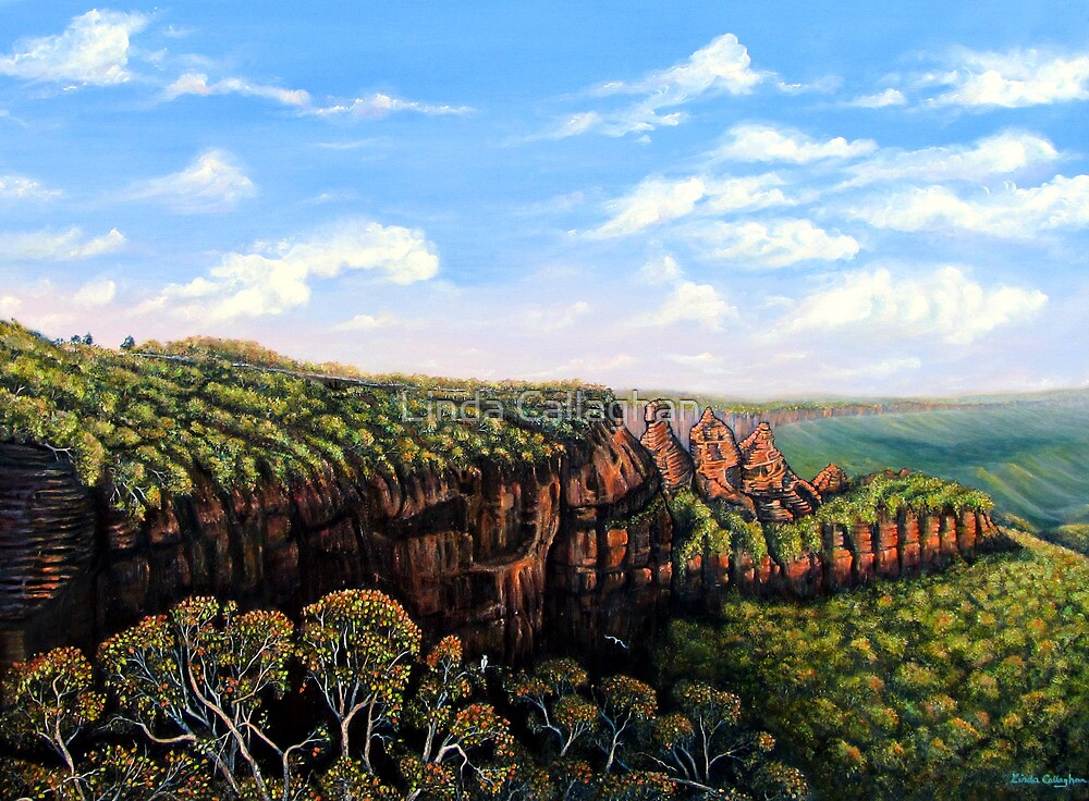Towards Echo Point, Blue Mtns Australia by Linda Callaghan
