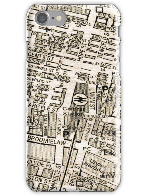 Glasgow Street Map iPhone Case by simpsonvisuals