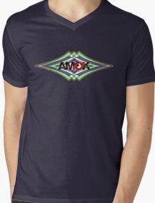 AMOK geometric waves Mens V-Neck T-Shirt