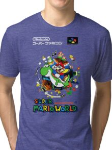 Super Mario World Nintendo Super Famicom Box Art Tri-blend T-Shirt