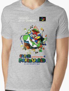 Super Mario World Nintendo Super Famicom Box Art Mens V-Neck T-Shirt