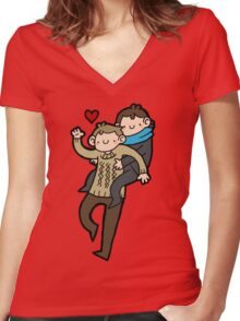 Sherlock & John- Piggyback Women's Fitted V-Neck T-Shirt
