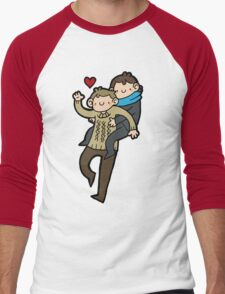 Sherlock & John- Piggyback Men's Baseball ¾ T-Shirt