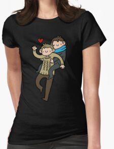 Sherlock & John- Piggyback Womens Fitted T-Shirt