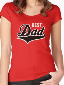 BEST Dad Tail-Design 2C Black/White Women's Fitted Scoop T-Shirt