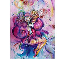 PINK MUSICAL CLOWN WITH OWL Photographic Print