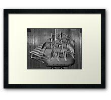 Black and White Ship Print Framed Print