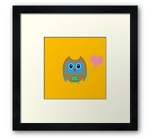 Cute owl with heartballoon Framed Print