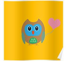 Cute owl with heartballoon Poster