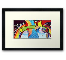 Parrots in Love Escape to Paradise Framed Print