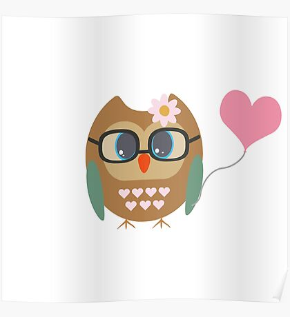 Owl with heart balloon Poster