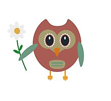 Owl with Flower Photographic Print