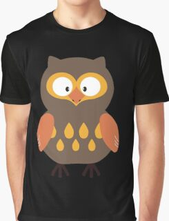 Brown Pumpkin Owl Graphic T-Shirt