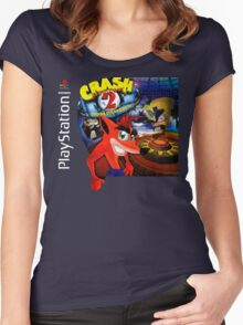 Crash Bandicoot 2 Playstation Box Art Shirt Women's Fitted Scoop T-Shirt