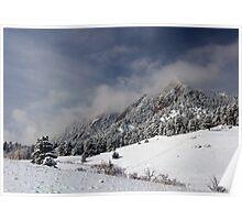 Boulder Colorado Flatirons April Snow Poster