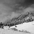 Boulder Colorado Flatirons April Snow In BW by Bo Insogna