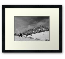 Boulder Colorado Flatirons April Snow In BW Framed Print