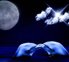 Dolphins and Moon by franceslewis