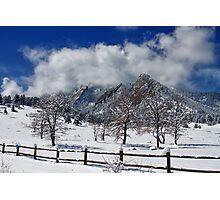 Boulder Colorado Flatirons Snowy Landscape View Photographic Print