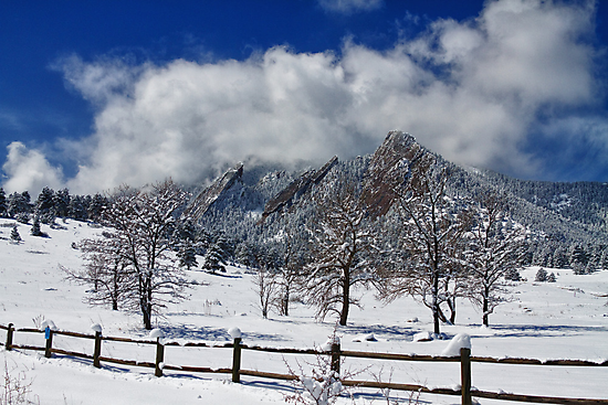 Boulder Colorado Flatirons Snowy Landscape View by Bo Insogna