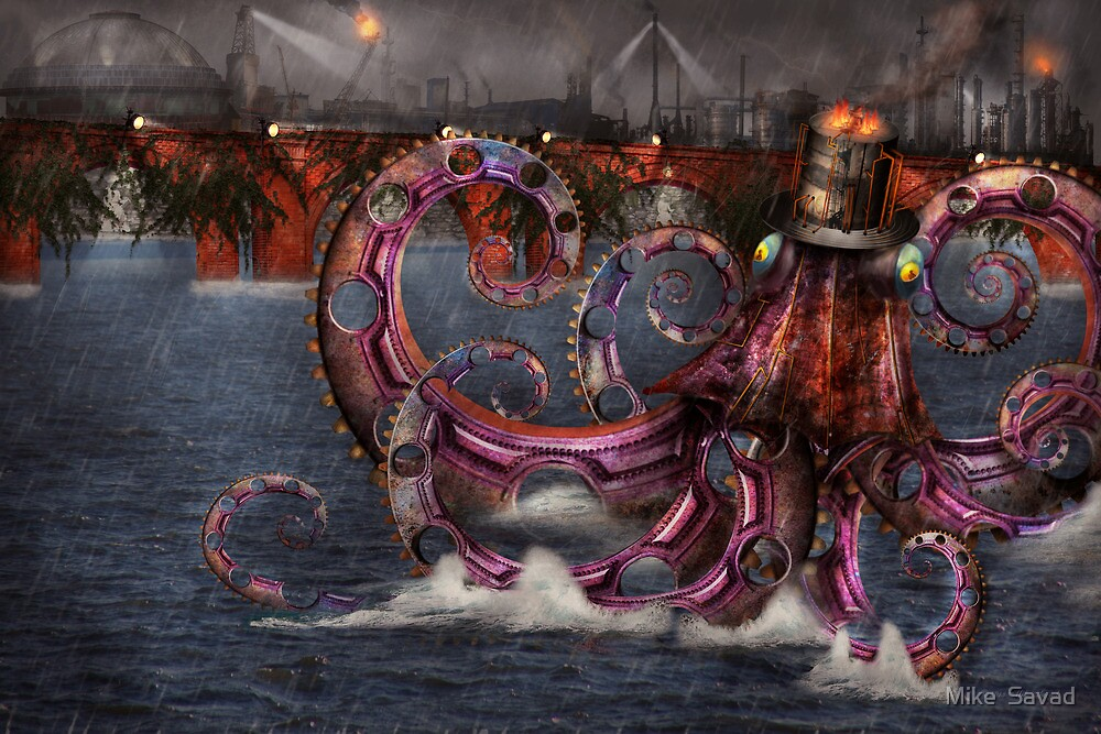 Steampunk - Enteroctopus magnificus roboticus by Mike  Savad