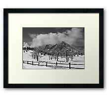 Snowy Flatirons Boulder Colorado Landscape View BW Framed Print