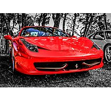 Red Ferrari 458 Italian Sports Car Photographic Print