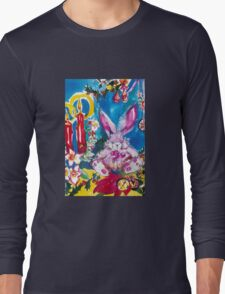 PINK  RABBIT WITH CHRISTMAS CANDLES AND HOLLYBERRIES Long Sleeve T-Shirt