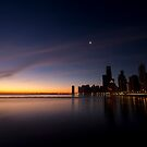 Chicago Skyline at dawn with a crescent moon by Sven Brogren
