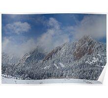 Flatiron Snow Dusting Boulder Colorado Poster