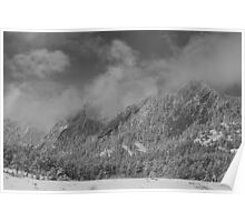 Flatiron Snow Dusting Boulder Colorado Black and White Poster