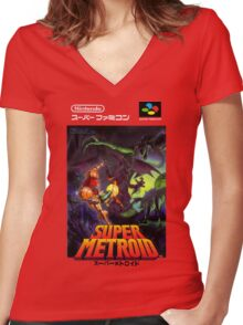 Super Metroid Nintendo Super Famicom Japanese Box Art Shirt (SNES) Women's Fitted V-Neck T-Shirt