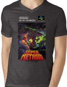 Super Metroid Nintendo Super Famicom Japanese Box Art Shirt (SNES) Mens V-Neck T-Shirt