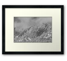 Flatiron Snow Dusting Close Up Boulder Colorado BW Framed Print