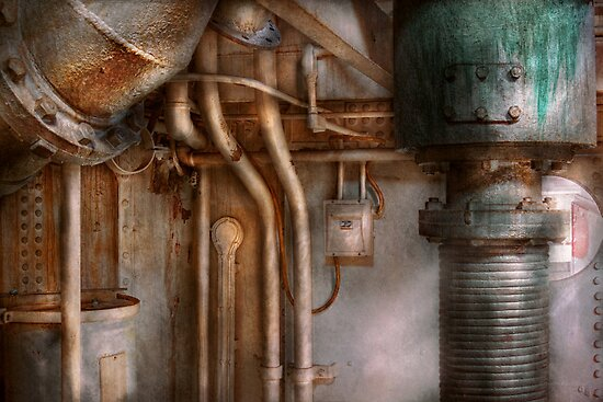 Steampunk - Plumbing - Industrial abstract  by Mike  Savad