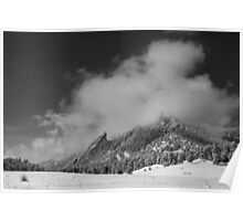 Flatirons In The Clouds Boulder Colorado BW Poster