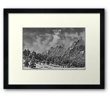 Rocky Mountain Dusting Of Snow Boulder Colorado BW Framed Print