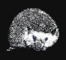 White Hedgehog Scratchboard by Amberella